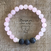 Bracelet, 2 Hearts, Design 1, Rose Quartz, Lava Beads and Rhinestones