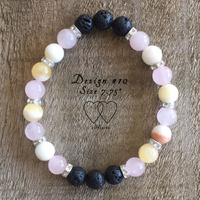 Bracelet, 2 Hearts, Design 10, 7.75 Inches, Honey Jasper, Rose Quartz, Lava Beads and Rhinestones