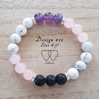 Bracelet, 2 Hearts, Design 12, 6.5 Inches, Amethyst, Howlite, Rose Quartz, Lava Beads and Rhinestones