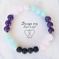 Bracelet, 2 Hearts, Design 13, 7.75 Inches, Amazonite, Amethyst, Rose Quartz, Lava Beads, Rhinestones and Tibetan Style Silver Plated Spacer Beads