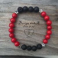 Bracelet, 2 Hearts, Design 14A, 7.75 Inches, Coral, Lava Beads and Metallic Daisy Spacers