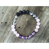 Bracelet, 2 Hearts, Design 15, 6.5 Inches, Amethyst, Clear Quartz, Rose Quartz, Lava Beads and Rhinestones
