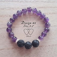Bracelet, 2 Hearts, Design 2, 6.5 Inches, Amethyst, Lava Beads and Rhinestones