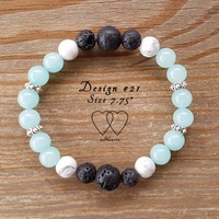 Bracelet, 2 Hearts, Design 21, 7.75 Inches, Amazonite, Howlite, Lava Beads and Tibetan Style Silver Plated Beaded Rondelle Spacers