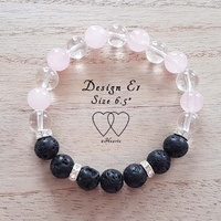 Bracelet, 2 Hearts, Design E1, 6.5 Inches, Clear Quartz, Rose Quartz, Lava Beads and Rhinestones