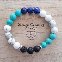 Bracelet, 2 Hearts, Design Ocean 5, 6.5 Inches, Chalk Turquoise, Howlite, Lapis Lazuli, Lava Beads and Tibetan Style Silver Plated Beaded Rondelle Spa