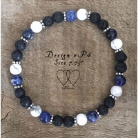 Bracelet, 2 Hearts, Design P4, 7.75 Inches, Petite Collection, Howlite, Sodalite, Lava Beads and Daisy Spacers