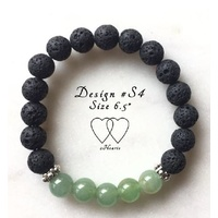 Bracelet, 2 Hearts, Stackable Collection, Design S4, Green Aventurine, Lava Beads and Tibetan Style Silver Plated Beaded Rondelle Spacers