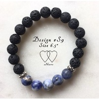 Bracelet, 2 Hearts, Stackable Collection, Design S9, Sodalite, Lava Beads and Tibetan Style Silver Plated Beaded Rondelle Spacers