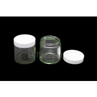 Jar, Cream, 30ml, Clear Flint Glass, White Lid