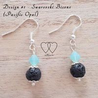 Earrings, 2 Hearts, Design #1 – Pacific Opal (Swarovski) and Lava Bead