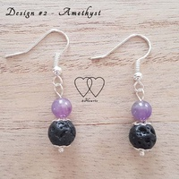 Earrings, 2 Hearts, Design #2 – Amethyst and Lava Bead