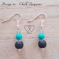 Earrings, 2 Hearts, Design #2 – Chalk Turquoise and Lava Bead
