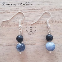 Earrings, 2 Hearts, Design #3 – Sodalite and Lava Bead