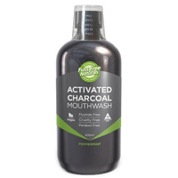 Mouthwash, Activated Charcoal, Peppermint, 500ml, Fuss Free Naturals