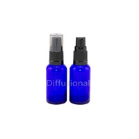 Bottle, Pump, Cobalt Blue, 30ml, Black Top