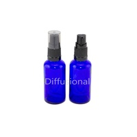 Bottle, Pump, Cobalt Blue, 50ml, Black Top