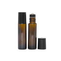 10ml (Thick Glass) Amber Roller Bottle, Steel Ball, Black Lid