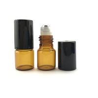 2ml (Thin Glass) Amber Roller Bottle, Steel Ball, Black Lid