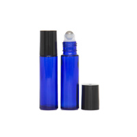 10ml (Thick Glass) Cobalt Blue Roller Bottle, Steel Ball, Black Lid