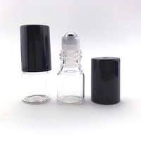 2ml (Thin Glass) Clear Roller Bottle, Steel Ball, Black Lid
