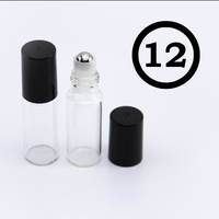 ## 12 Pack ## 5ml Clear Roller Bottle, Steel Ball, Black Lid (Thin Glass)