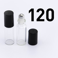 ## 120 Pack ## 5ml Clear Roller Bottle, Steel Ball, Black Lid (Thin Glass)