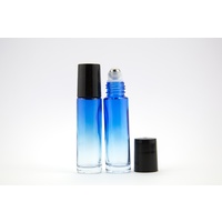 10ml (Thick Glass) Gradient Blue Roller Bottle, Steel Ball, Black Lid