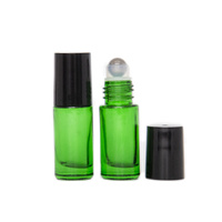 5ml (Thick Glass) Green Roller Bottle, Steel Ball, Black Lid