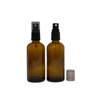 Bottle, Spray, Amber, 100ml, Black Plastic Top