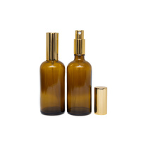 Bottle, Spray, Amber, 100ml, GOLD Aluminium Top