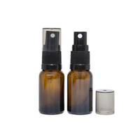 Bottle, Spray, Amber, 15ml, Black Plastic Top