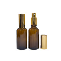 Bottle, Spray, Amber, 50ml, GOLD Aluminium Top