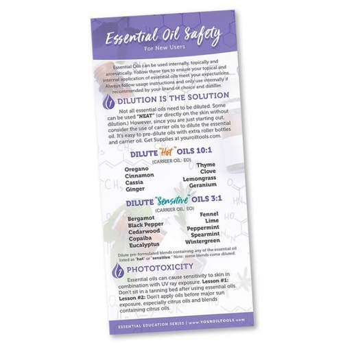 Bookmark, Essential Oils Safety Rack Card