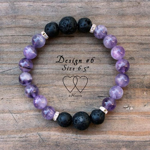 Bracelet, 2 Hearts, Design 6, 6.5 Inches, Amethyst, Lava Beads and Rhinestones