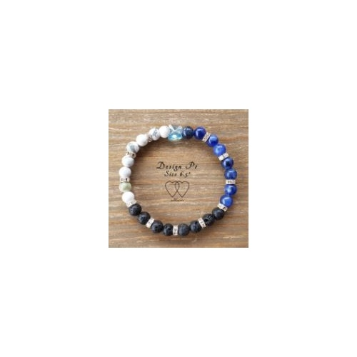 Bracelet, 2 Hearts, Design P1, 6.5 Inches, Blue, Howlite, Sodalite, Butterfly Swarovski Crystal, Lava Beads and Rhinestones