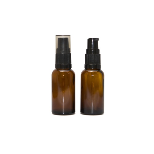 Bottle, Pump, Amber, 30ml, Black Top