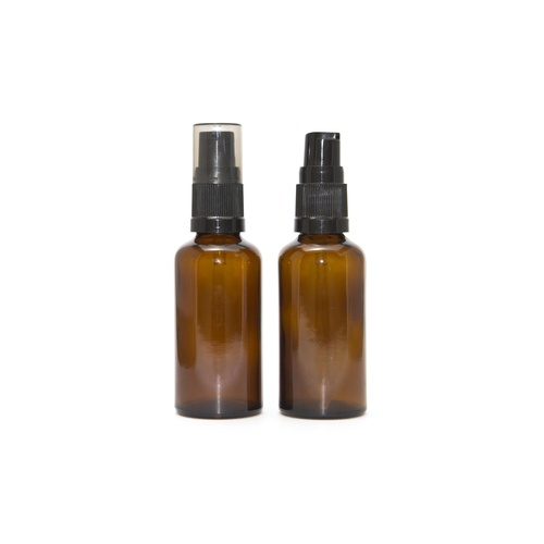 Bottle, Pump, Amber, 50ml, Black Top