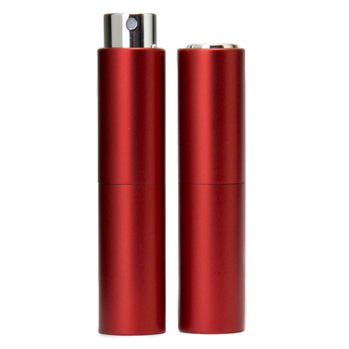 Perfume Atomizer, Red, 8ml Twist Top Spray Bottle In Aluminium Cover