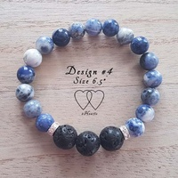 Bracelet, 2 Hearts, Design 4, 6.5 Inches, Sodalite, Lava Beads and Rhinestones