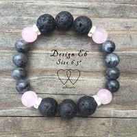 6.5 Inches, Bracelet, 2 Hearts, Design E6, Norwegian Labradorite, Rose Quartz, Lava Beads and Rhinestones