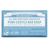 Dr. Bronner's Pure Castile Soap Bar, 140g - Baby Unscented