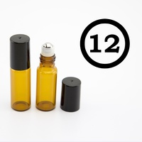 ## 12 Pack ## 5ml Amber Roller Bottle, Steel Ball, Black Lid (Thin Glass)