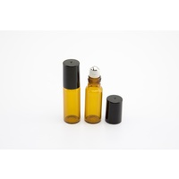 5ml (Thin Glass) Amber Roller Bottle, Steel Ball, Black Lid