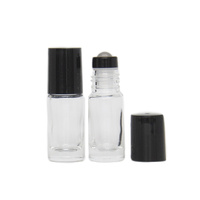 5ml (Thick Glass) Clear Roller Bottle, Steel Ball, Black Lid