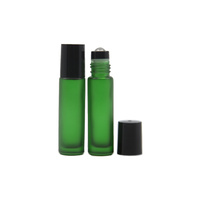 10ml (Thick Glass) Frosted Green Roller Bottle, Steel Ball, Black Lid