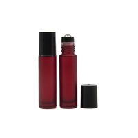 10ml (Thick Glass) Frosted Red Roller Bottle, Steel Ball, Black Lid