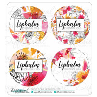 Bright Floral Lipbalm Tin Label Set, 35x35mm, Premium Quality Vinyl