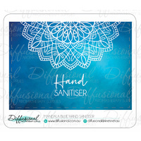 Mandala Blue Hand Sanitiser Label, 45x63mm, Premium Quality Vinyl