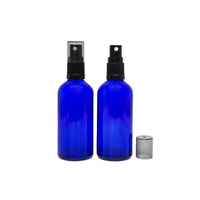 100ml Cobalt Blue Glass Spray Bottle, Black Plastic Top